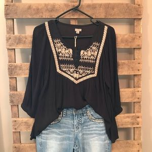 UrbanOutfitters Ecote black airy embroidered top S